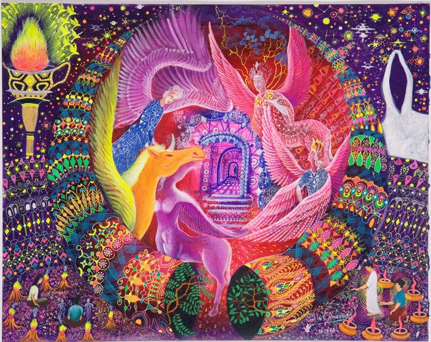 Unicornio Dorado The Golden Unicorn ayahuasca hallucination by Pablo Amaringo